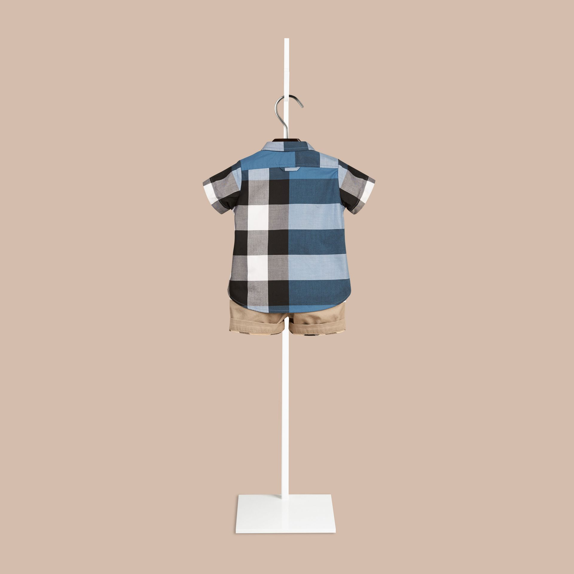 Lupin blue Short-sleeved Check Cotton Shirt Lupin Blue - gallery image 2