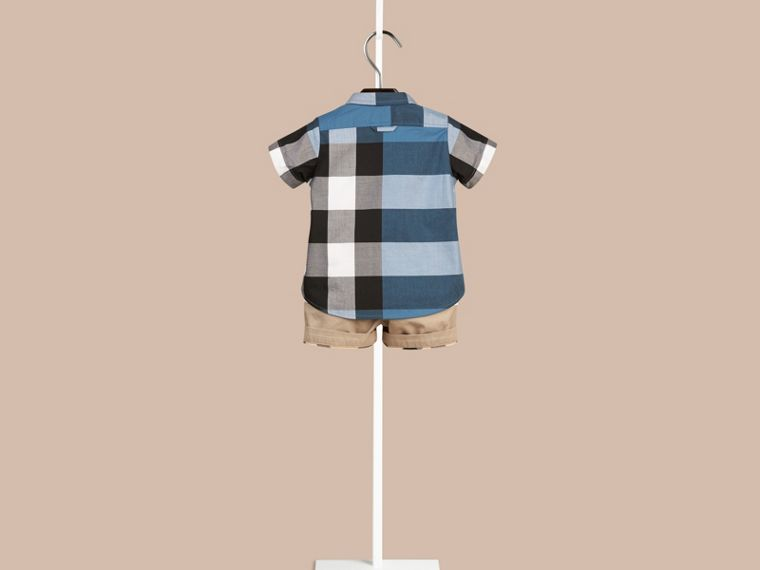 Lupin blue Short-sleeved Check Cotton Shirt Lupin Blue - cell image 1