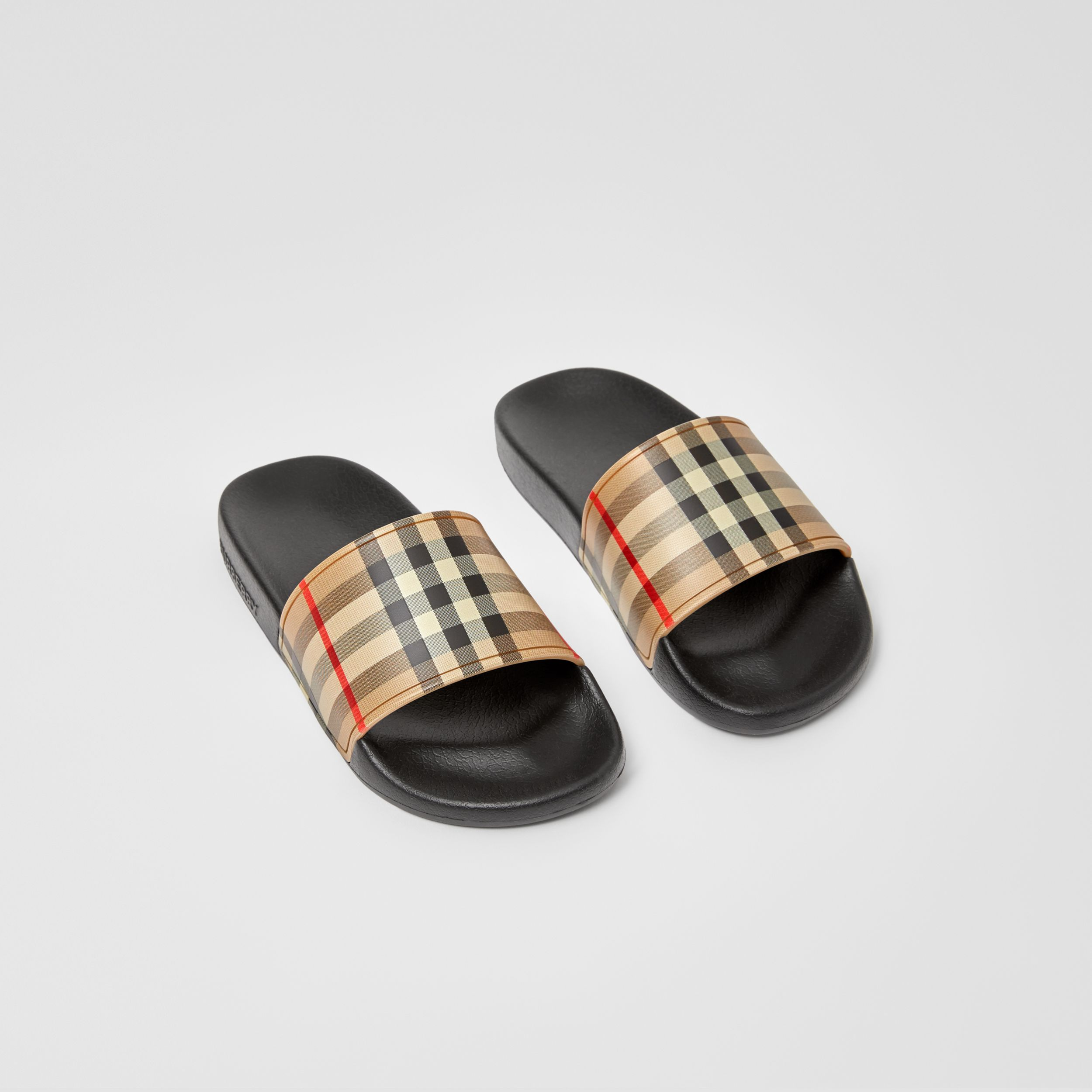 Vintage Check Slides in Archive Beige - Children | Burberry Australia - 1