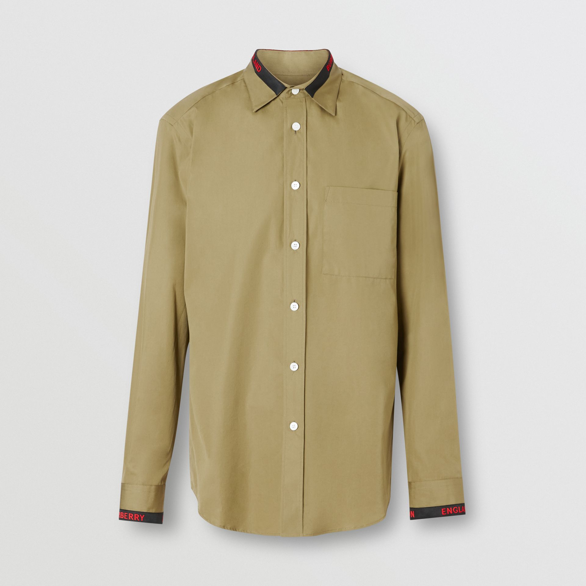 Logo Detail Cotton Poplin Shirt in Utility Green - Men | Burberry - gallery image 3