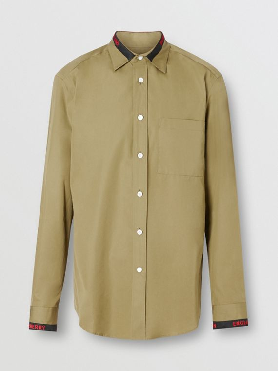 Logo Detail Cotton Poplin Shirt in Utility Green