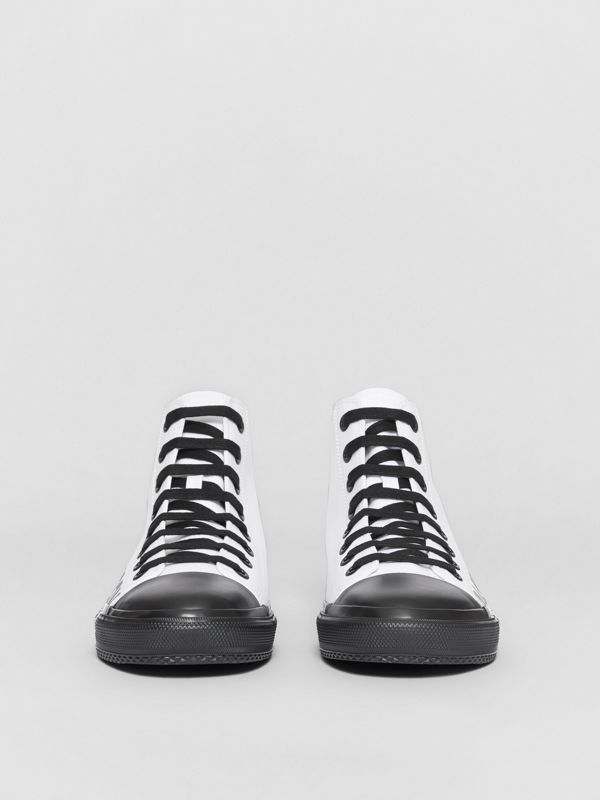 Logo Print Cotton Gabardine High-top Sneakers in Optic White/black - Men | Burberry - cell image 2
