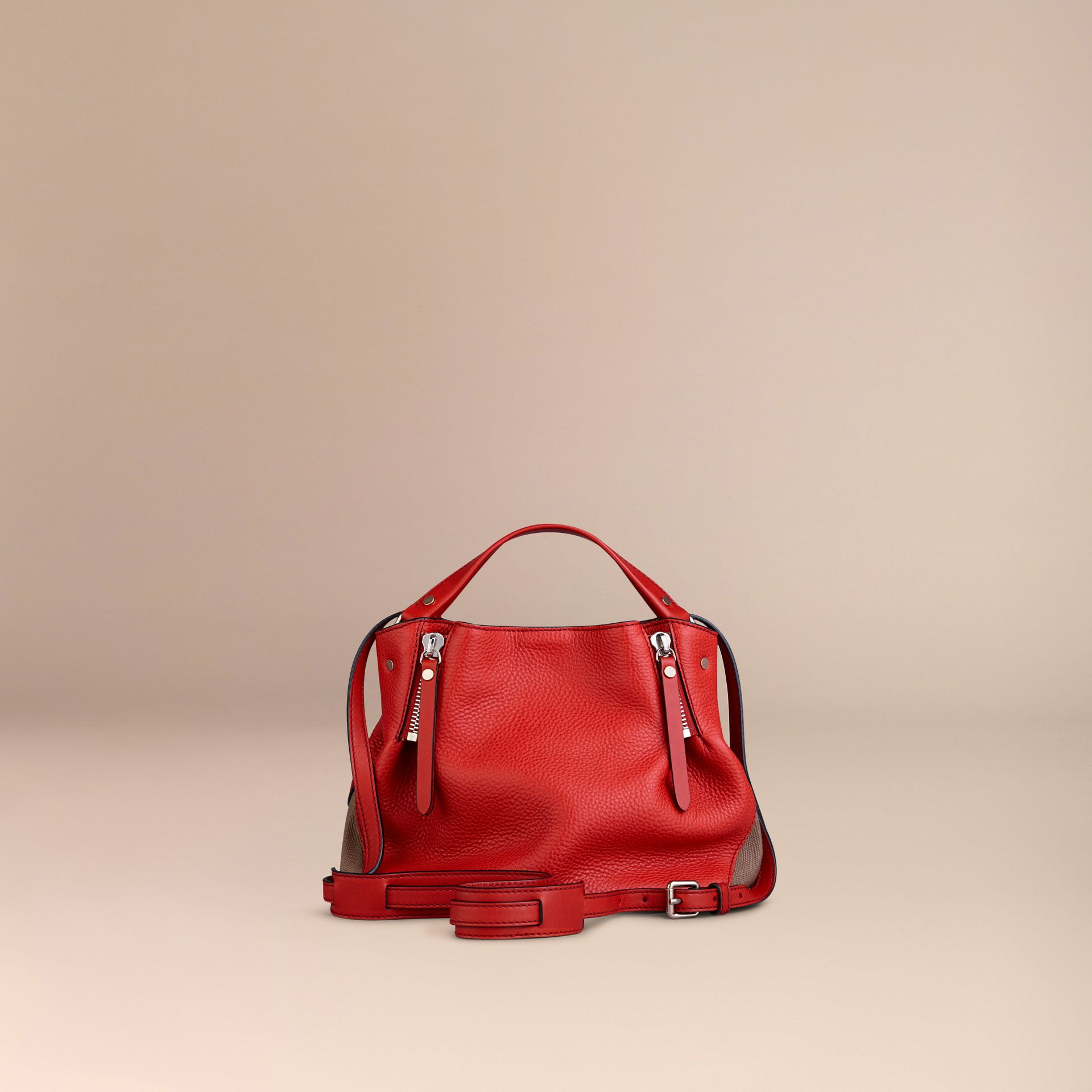 Cadmium red Small Check Detail Leather Tote Bag Cadmium Red - gallery image 3