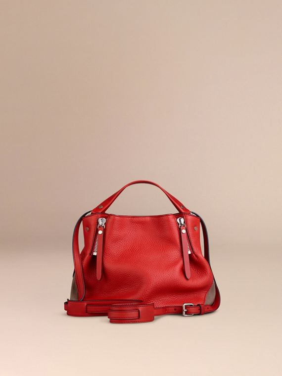 Cadmium red Small Check Detail Leather Tote Bag Cadmium Red - cell image 2