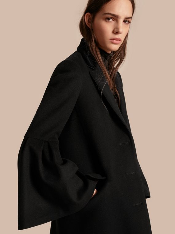 Tailored Wool Cashmere Coat with Bell Sleeves in Black