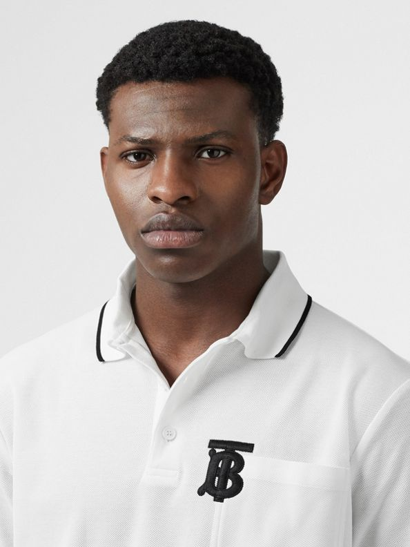 Monogram Motif Tipped Cotton Piqué Polo Shirt in White