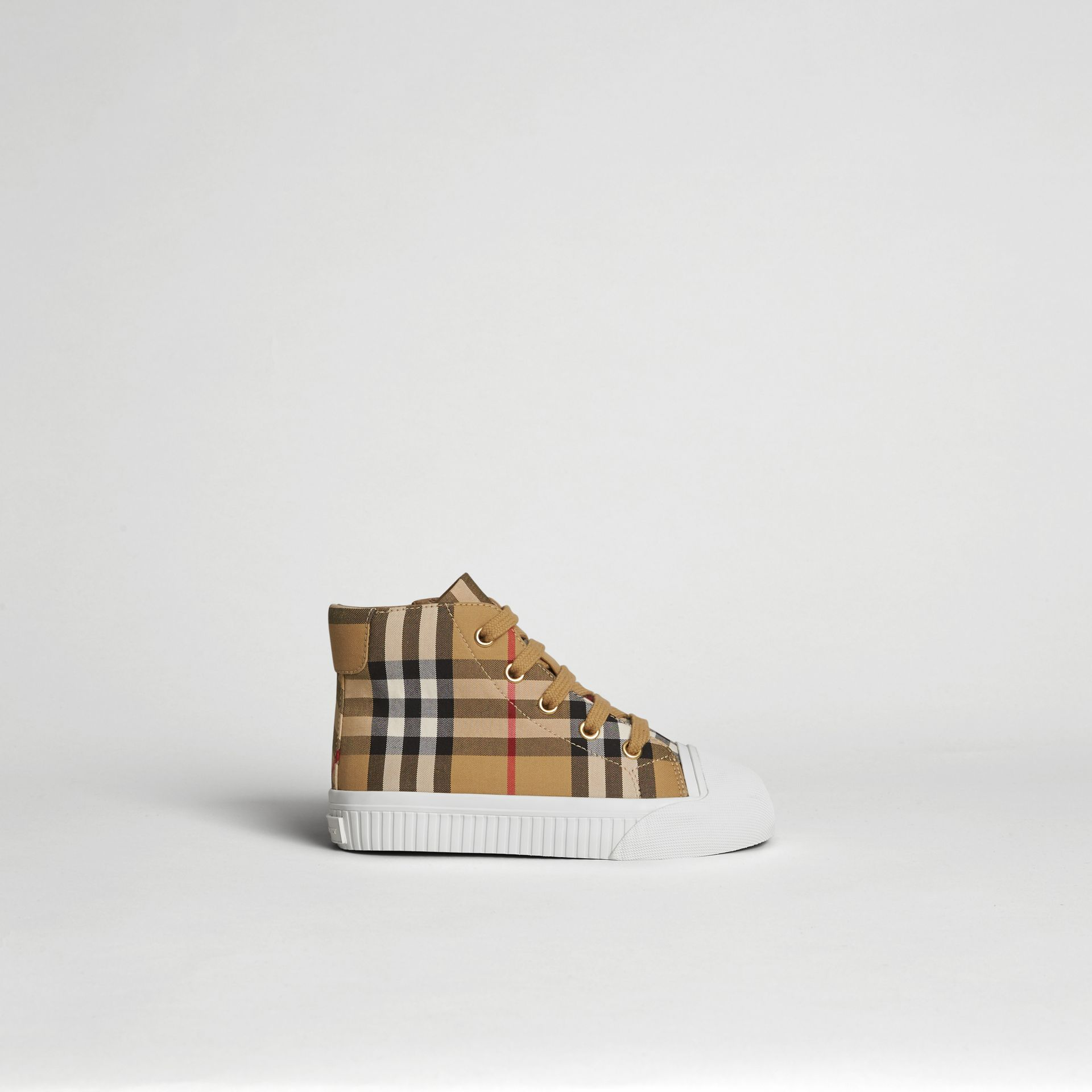 Vintage Check and Leather High-top Sneakers in Antique Yellow/optic White | Burberry United Kingdom - gallery image 3