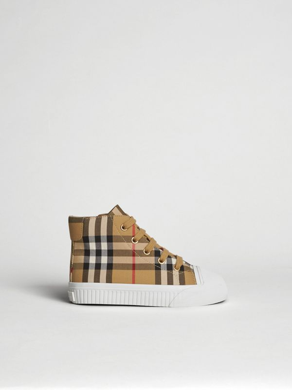 Vintage Check and Leather High-top Sneakers in Antique Yellow/optic White | Burberry Hong Kong S.A.R - cell image 3