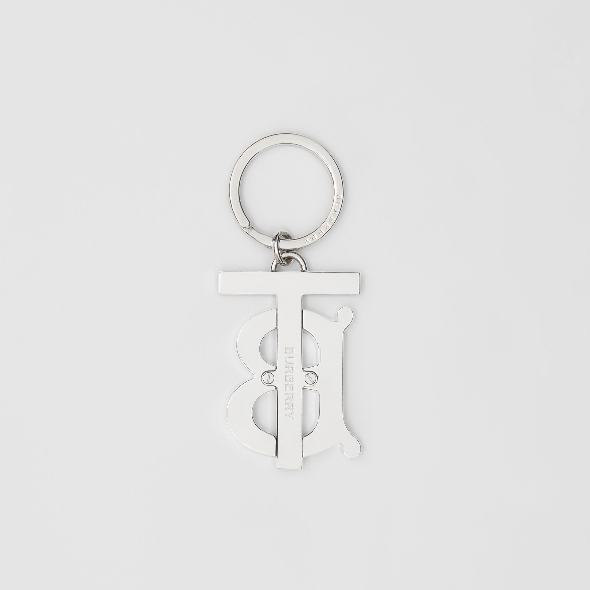Monogram Motif Palladium-plated Key Ring in Silver - Men | Burberry United States - gallery image 2