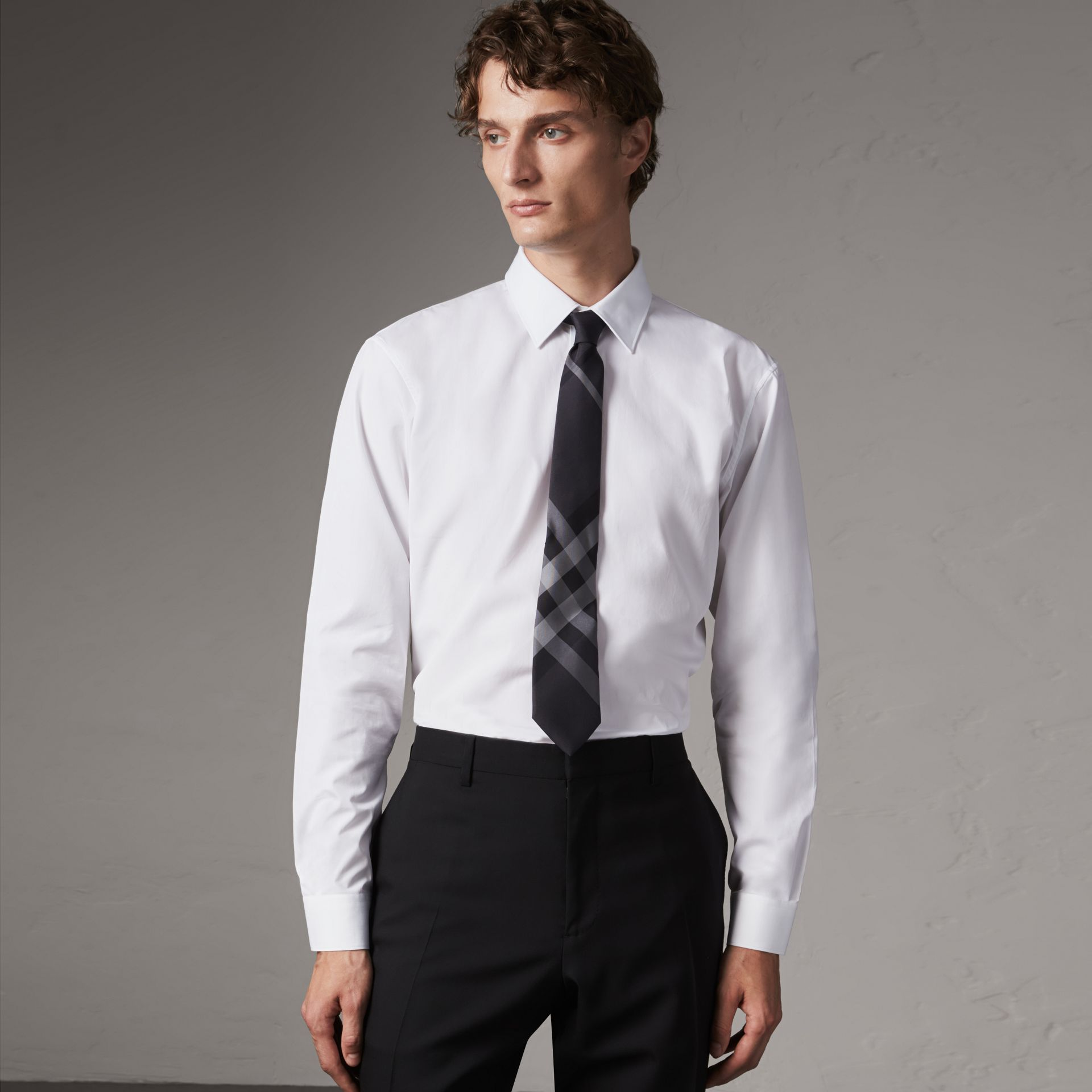 Modern Fit Cotton Poplin Shirt in White - Men | Burberry - gallery image 0