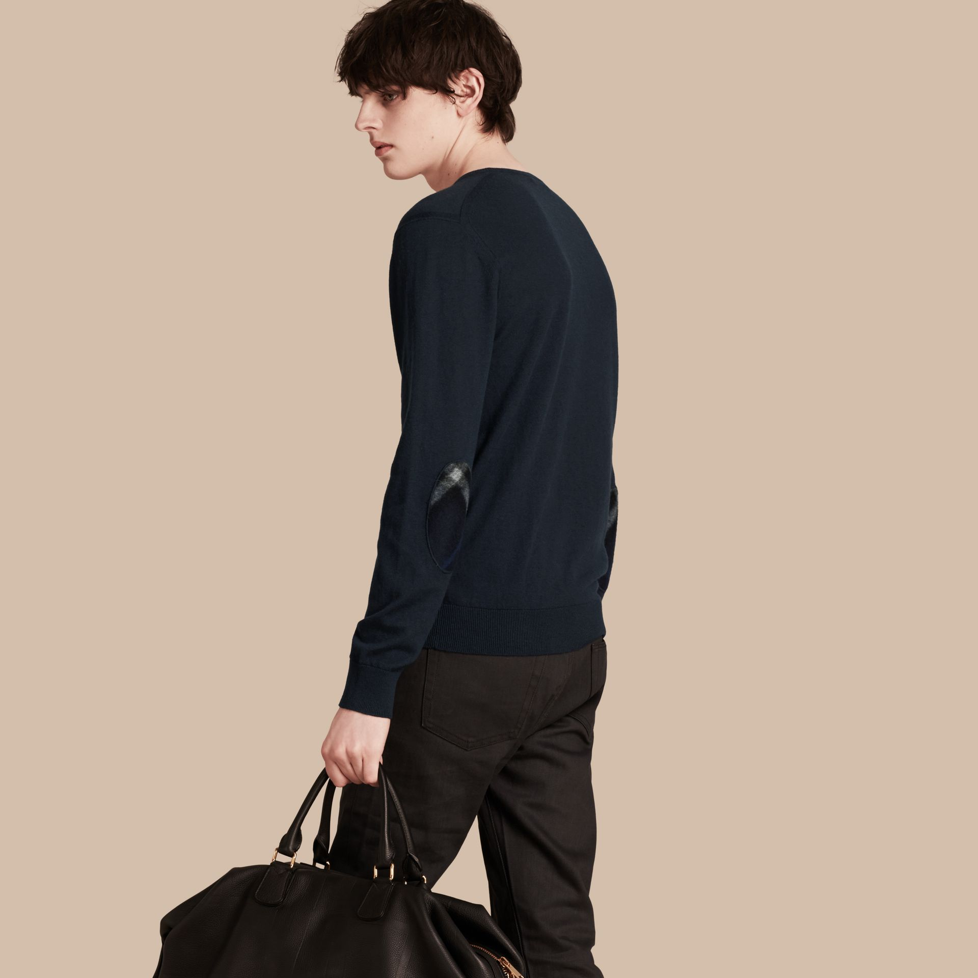 Check Trim Cashmere Cotton Sweater in Navy - Men | Burberry - gallery image 1