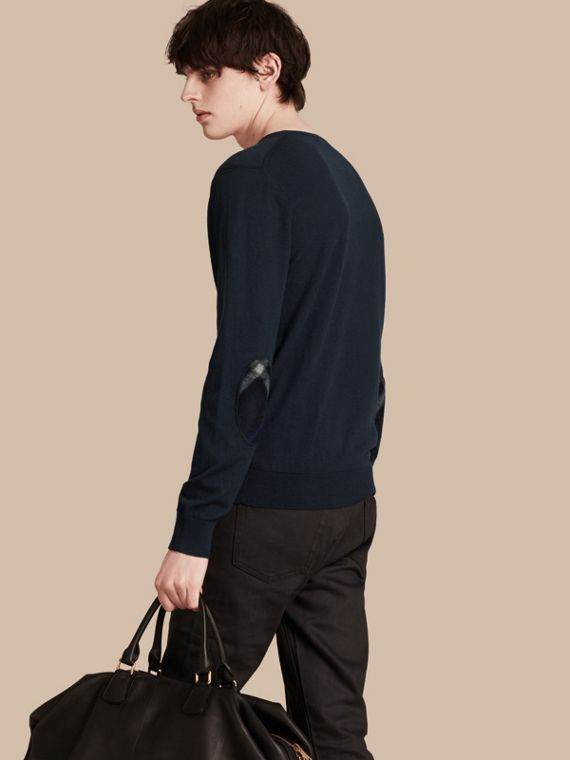 Check Trim Cashmere Cotton Sweater Navy