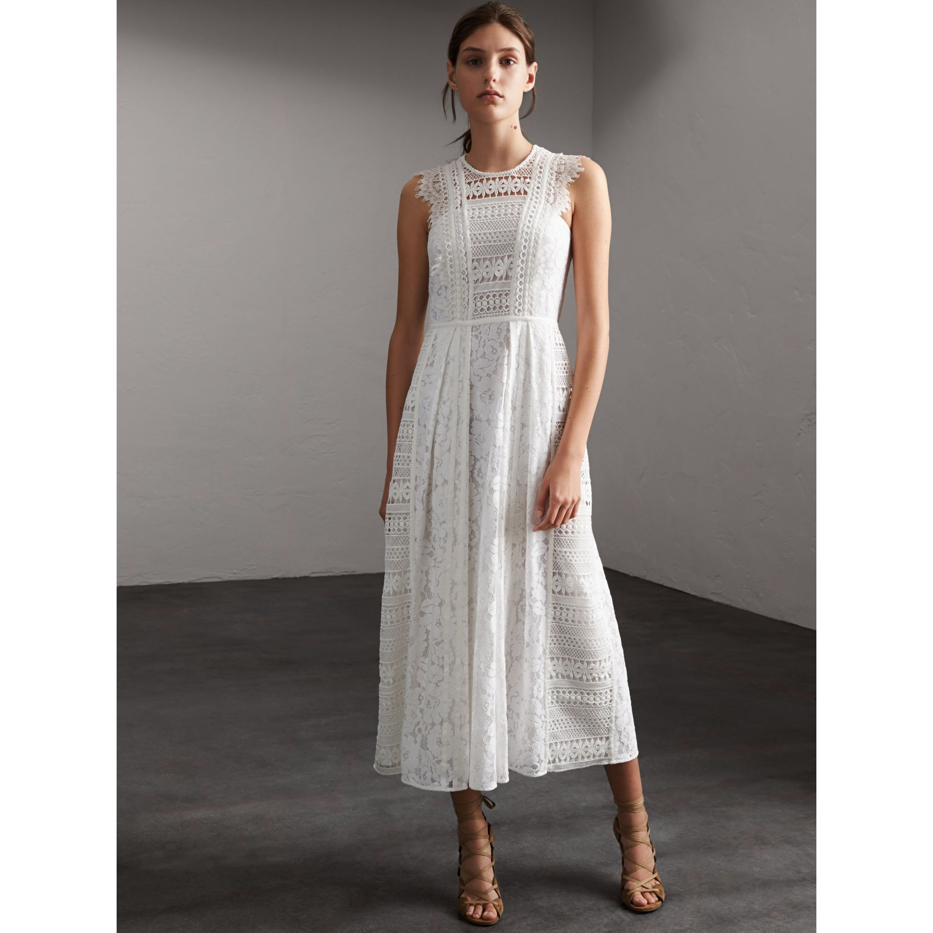 Sleeveless Macramé Lace Dress in White - Women | Burberry - gallery image 6