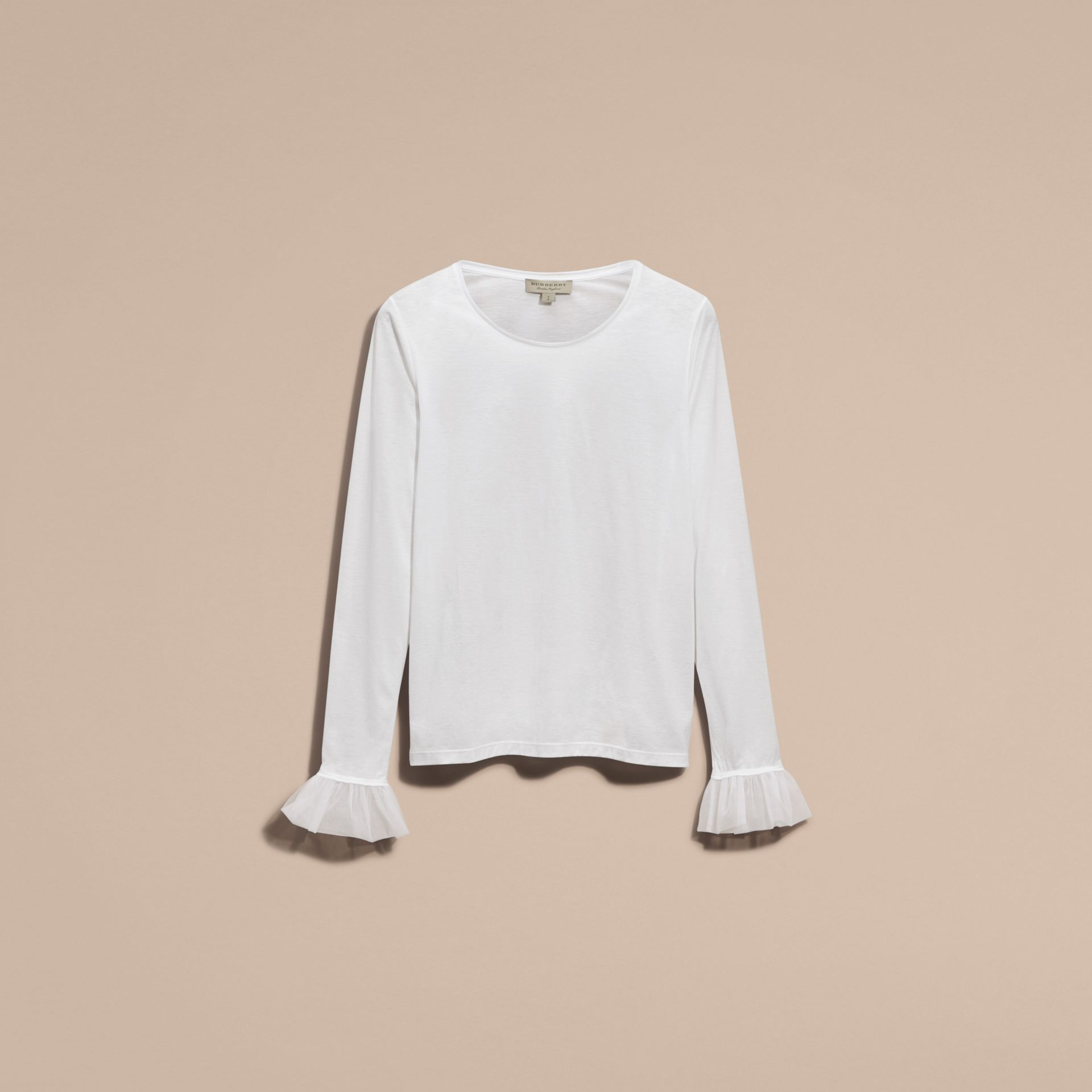 Ruffle Detail Long-sleeved Cotton T-shirt - gallery image 4