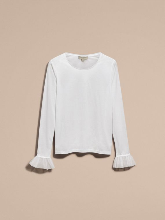 White Ruffle Detail Long-sleeved Cotton T-shirt - cell image 3