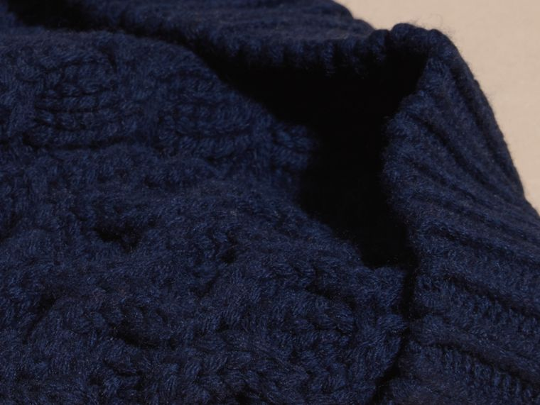 Aran Knit Wool Cashmere Beanie Dark Navy - cell image 1