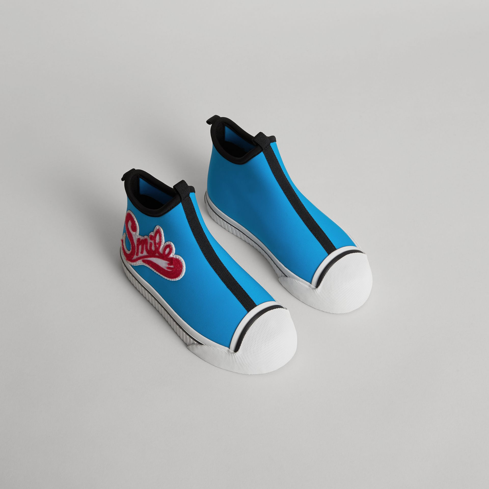 Embroidered Neoprene High-top Sneakers in Bright Sky Blue | Burberry - gallery image 0