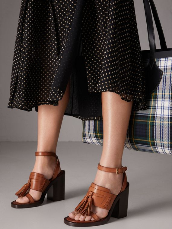 Tasselled Leather Block-heel Sandals in Amber - Women | Burberry - cell image 2