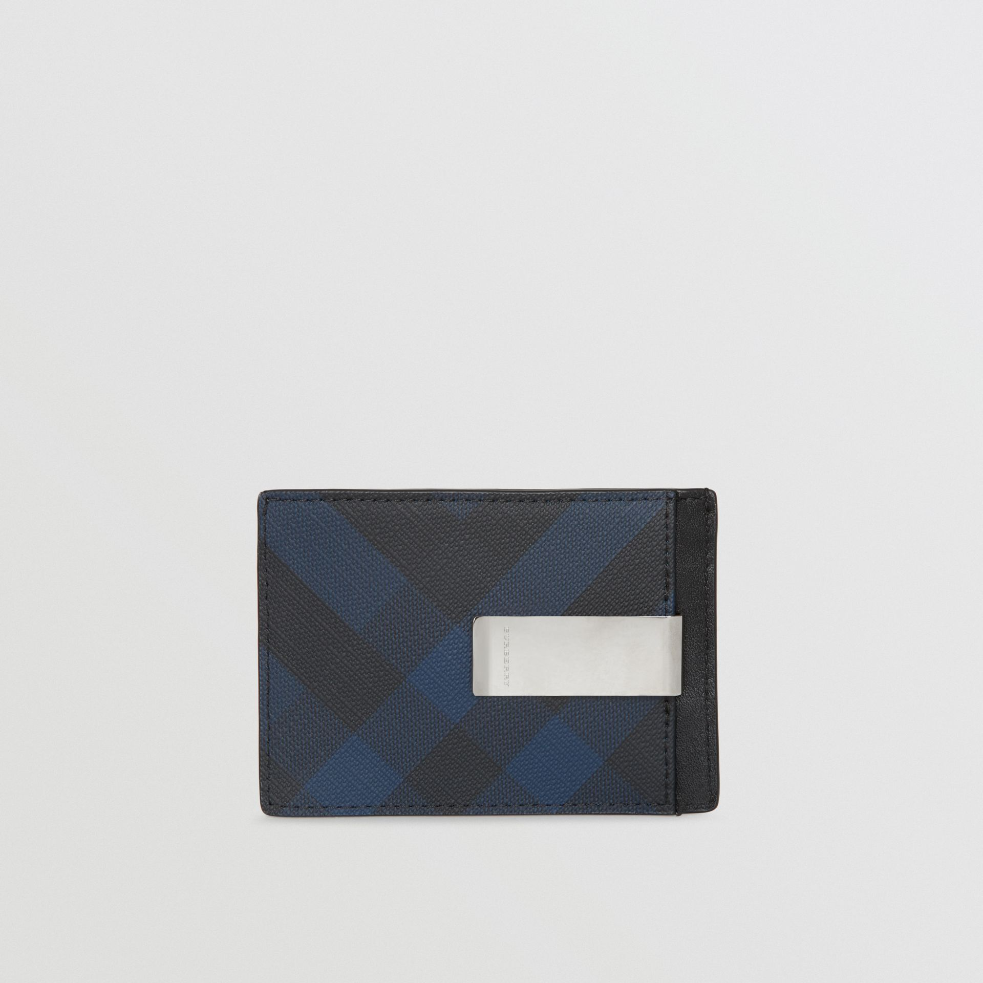 London Check and Leather Money Clip Card Case in Navy/black - Men | Burberry - gallery image 4