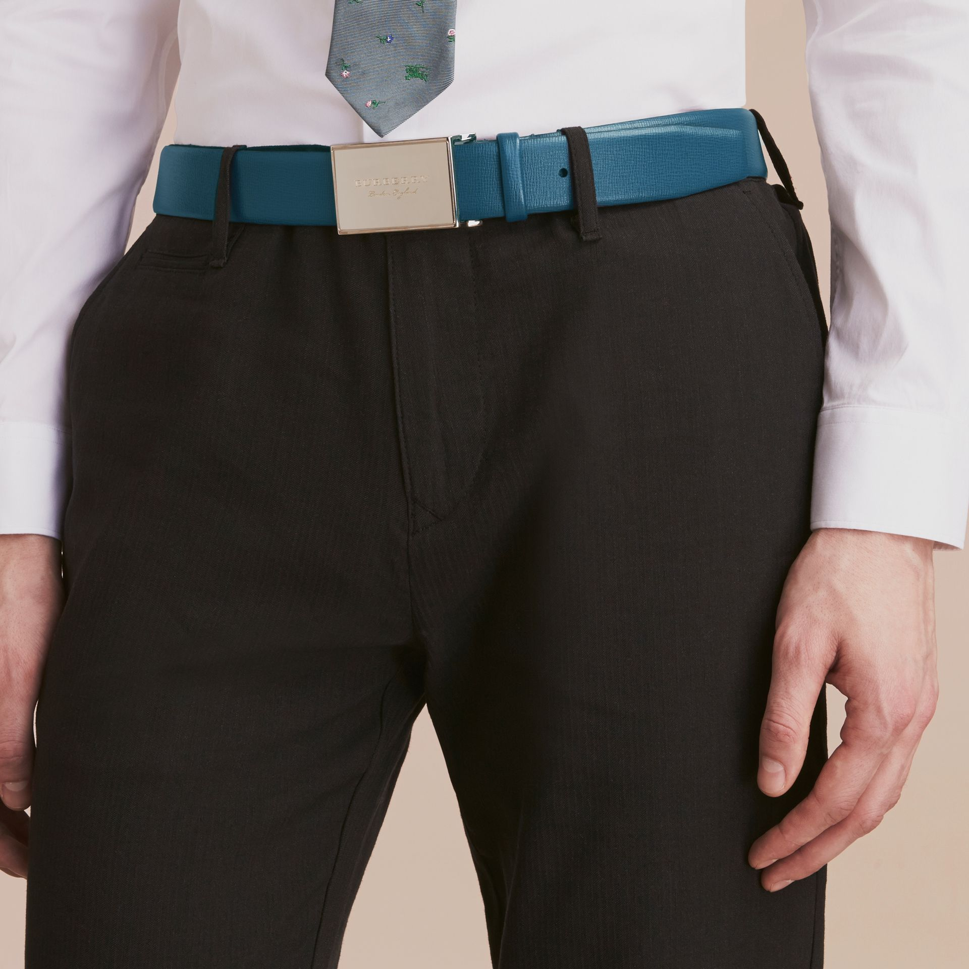 London Leather Belt with Plaque Buckle Mineral Blue - gallery image 3