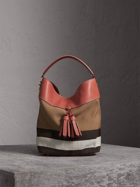 Sac The Ashby medium en toile Canvas check et cuir (Cannelle Rouge) - Femme | Burberry