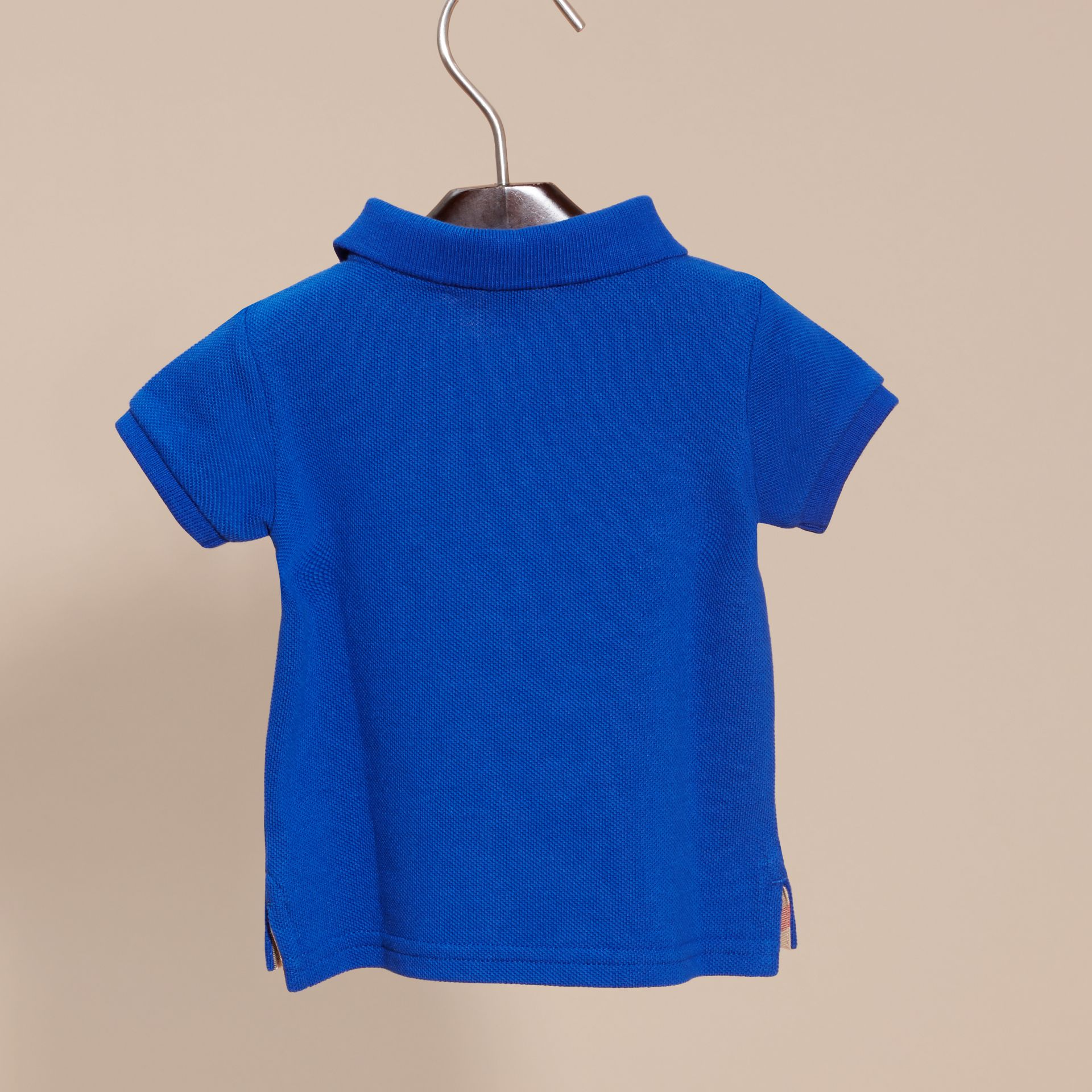 Cotton Piqué Polo Shirt in Brilliant Blue - gallery image 4