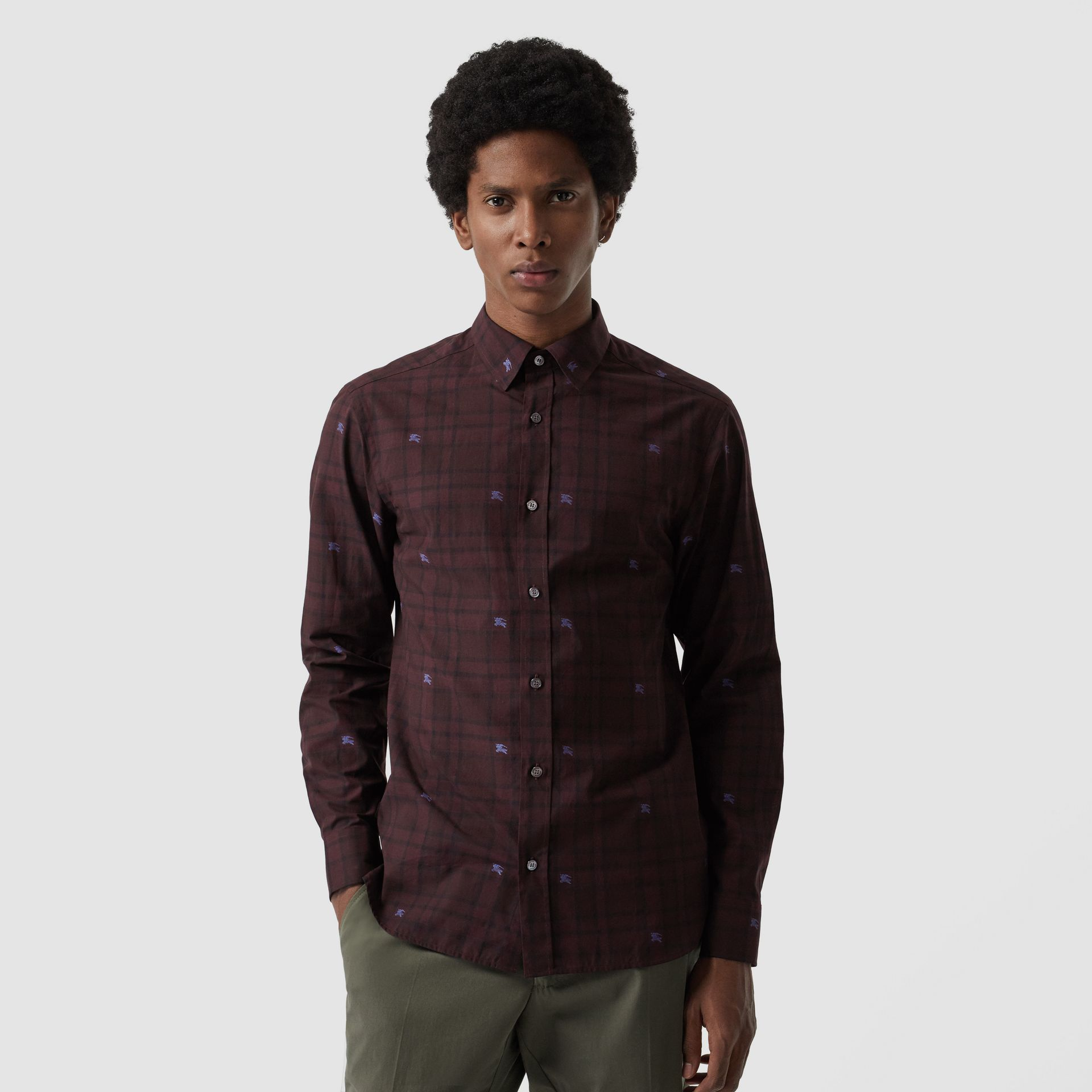 Equestrian Knight Check Cotton Shirt in Dark Elderberry - Men | Burberry - gallery image 0