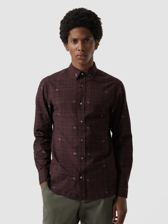 Equestrian Knight Check Cotton Shirt in Dark Elderberry