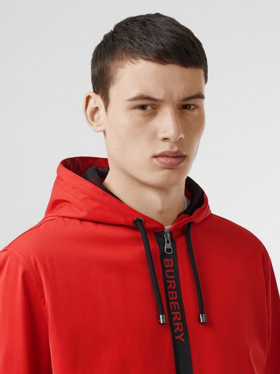Logo Detail Nylon Cotton Twill Hooded Jacket in Bright Red - Men | Burberry Australia - cell image 1