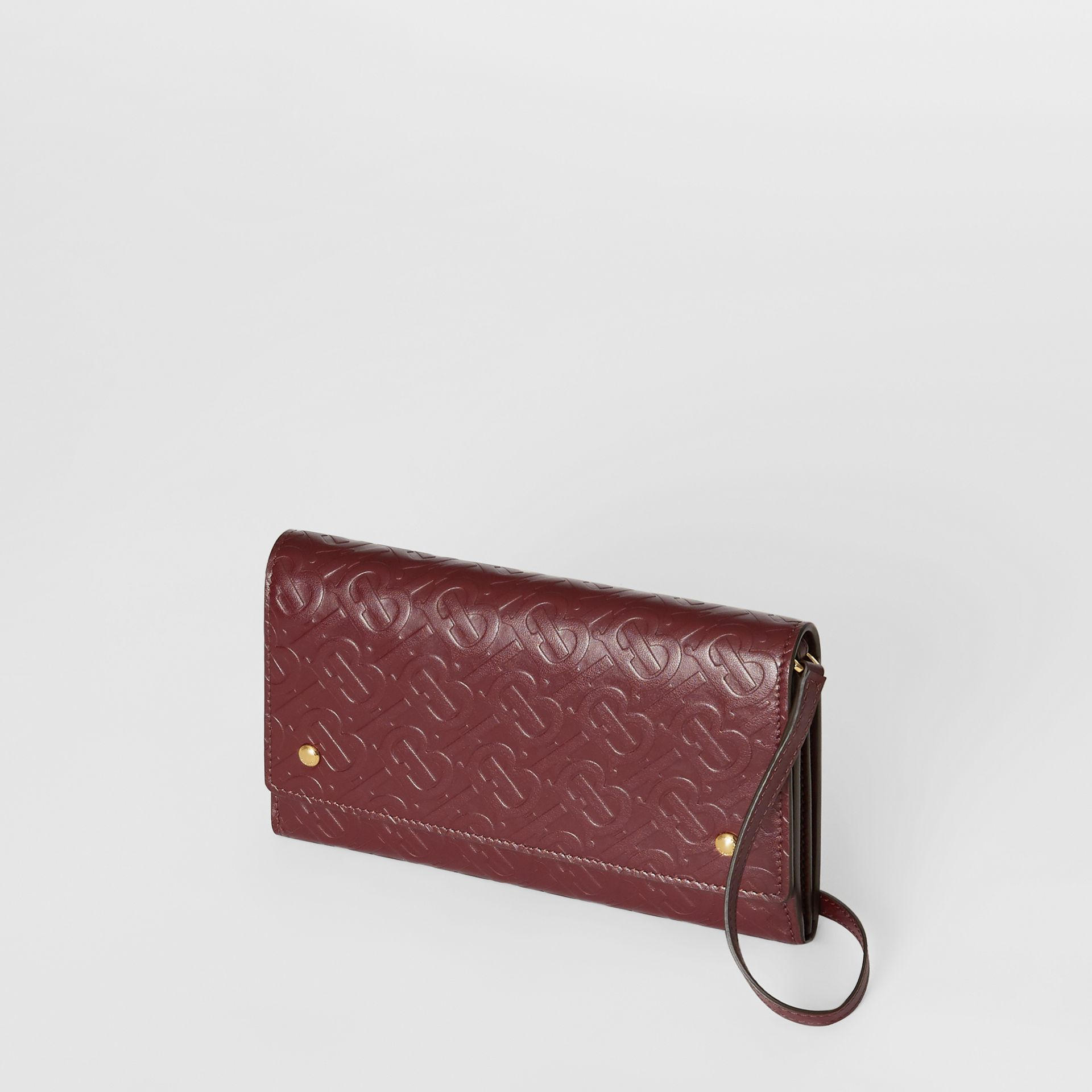 Monogram Leather Wallet with Detachable Strap in Oxblood - Women | Burberry - gallery image 3