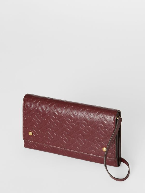 Monogram Leather Wallet with Detachable Strap in Oxblood - Women | Burberry - cell image 3