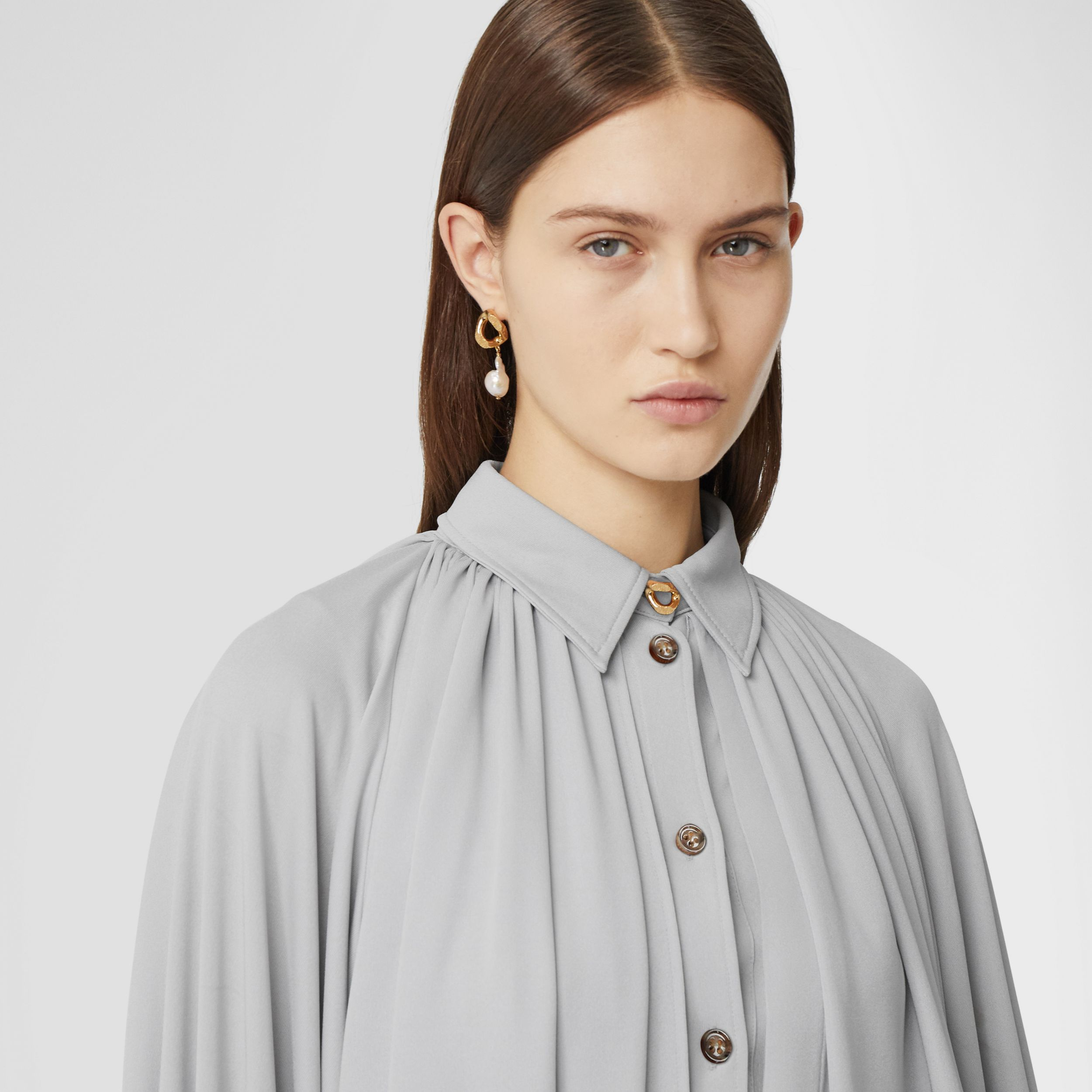 Gathered Jersey Bubble Hem Blouse in Light Pebble Grey - Women | Burberry - 2
