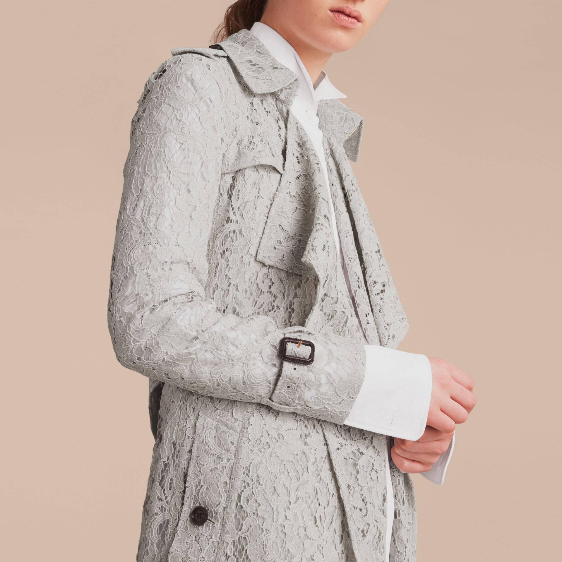 Macramé Lace Trench Coat Pale Grey - gallery image 5