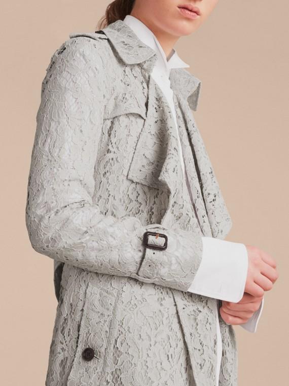 Macramé Lace Trench Coat Pale Grey