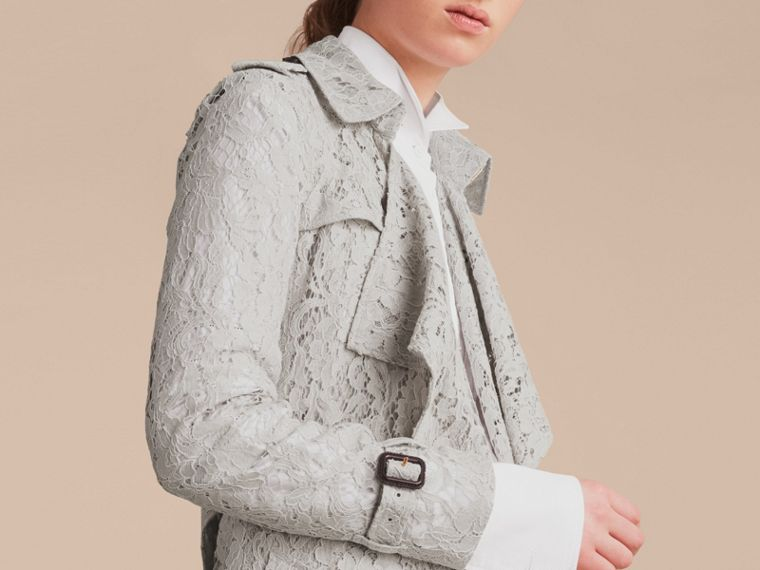 Macramé Lace Trench Coat Pale Grey - cell image 4