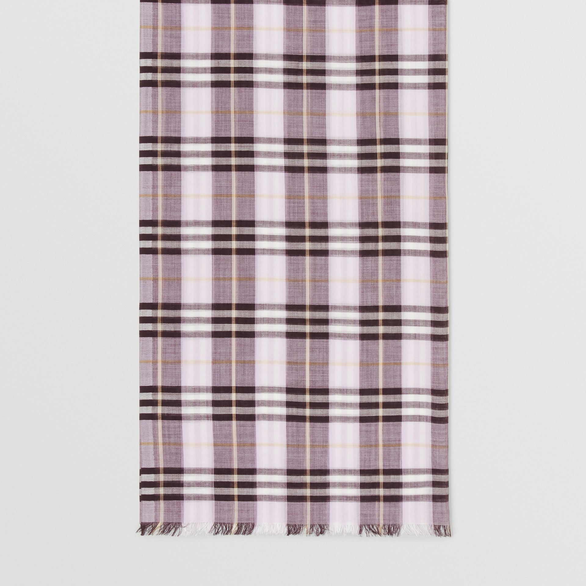 Vintage Check Lightweight Wool Silk Scarf in Lavender | Burberry Singapore - gallery image 4