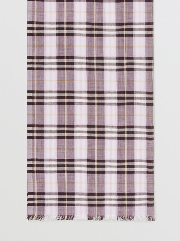 Vintage Check Lightweight Wool Silk Scarf in Lavender | Burberry United Kingdom - cell image 3