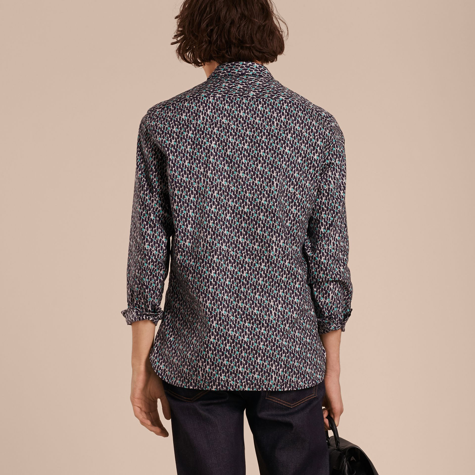 Bright navy Painterly Dash Print Cotton Shirt Bright Navy - gallery image 3