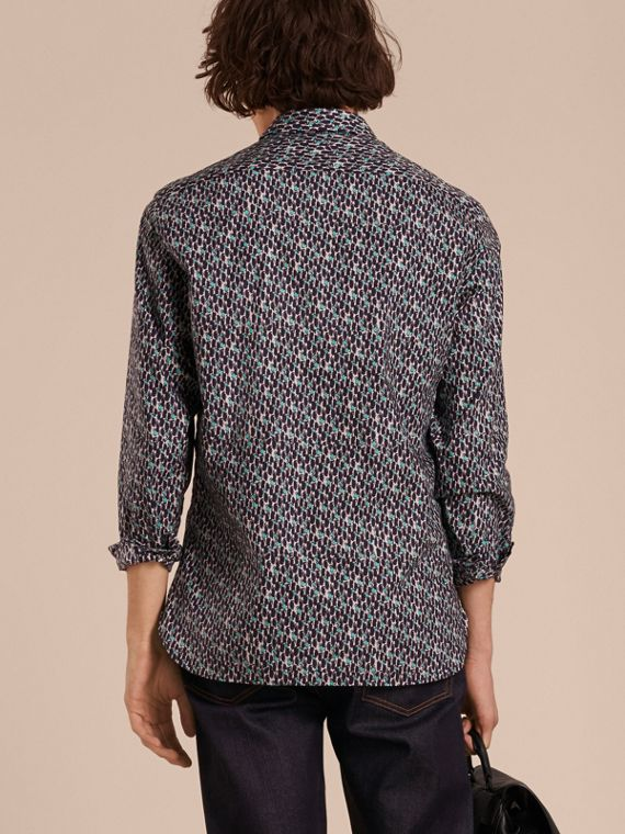 Bright navy Painterly Dash Print Cotton Shirt Bright Navy - cell image 2