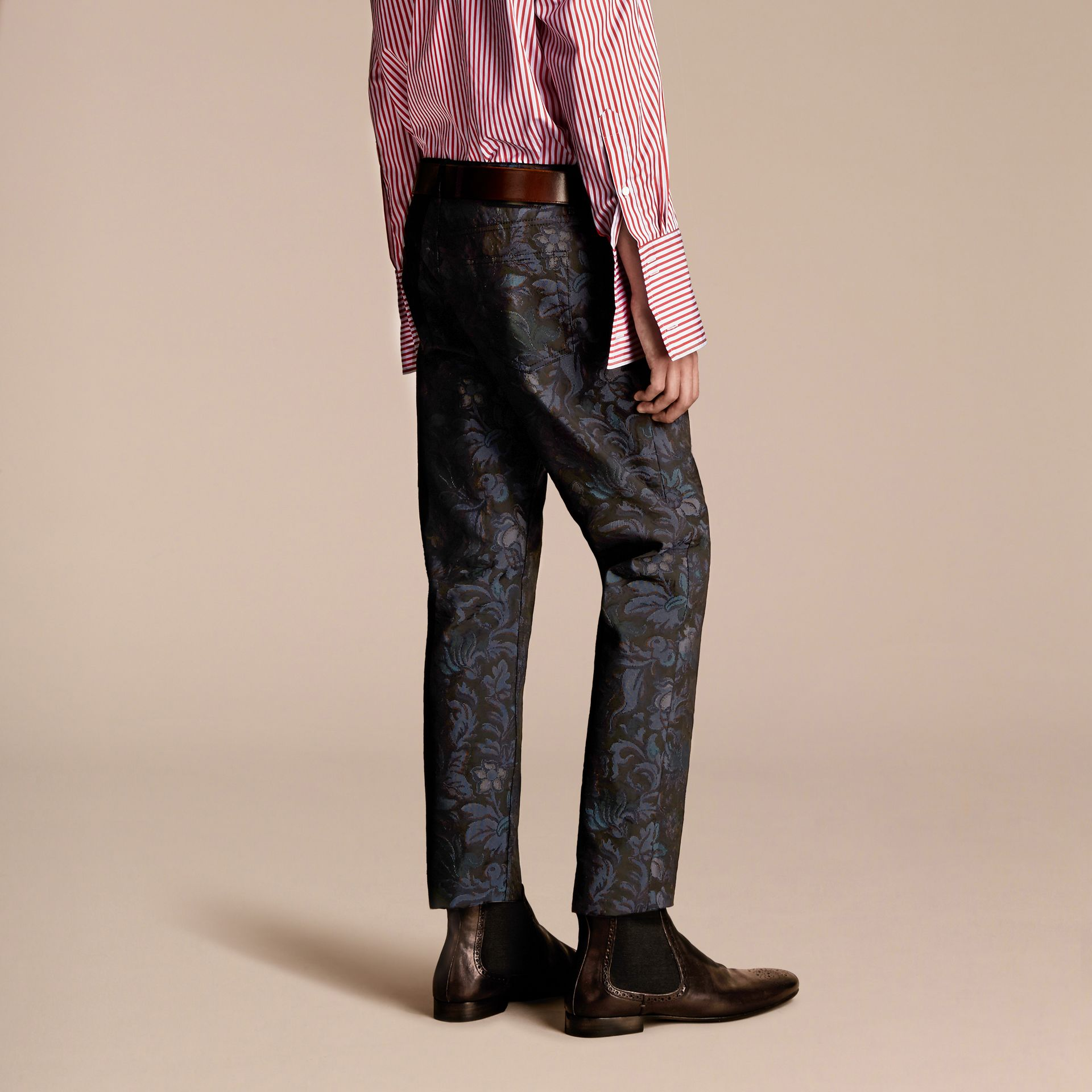 Slim Fit Floral Jacquard Jeans in Navy - gallery image 3