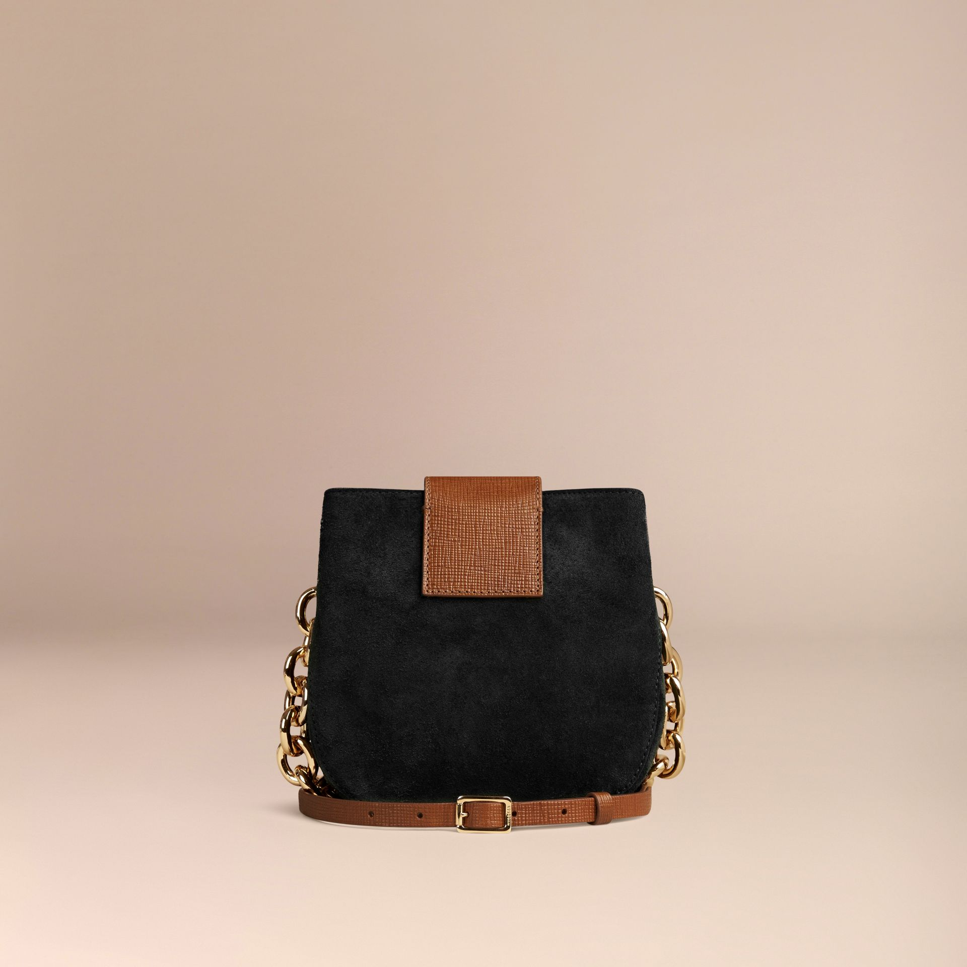 Black The Small Square Buckle Bag in English Suede and House Check - gallery image 4