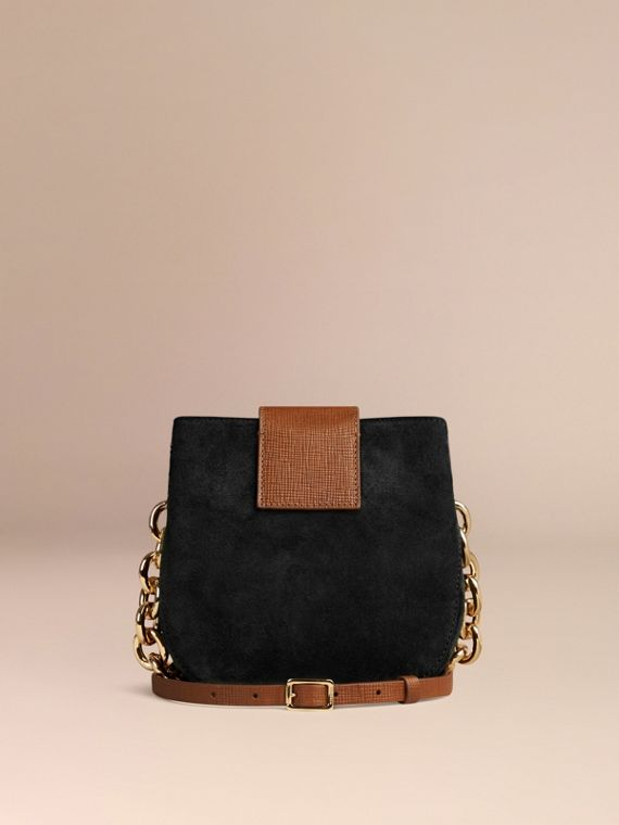 Black The Small Square Buckle Bag in English Suede and House Check - cell image 3