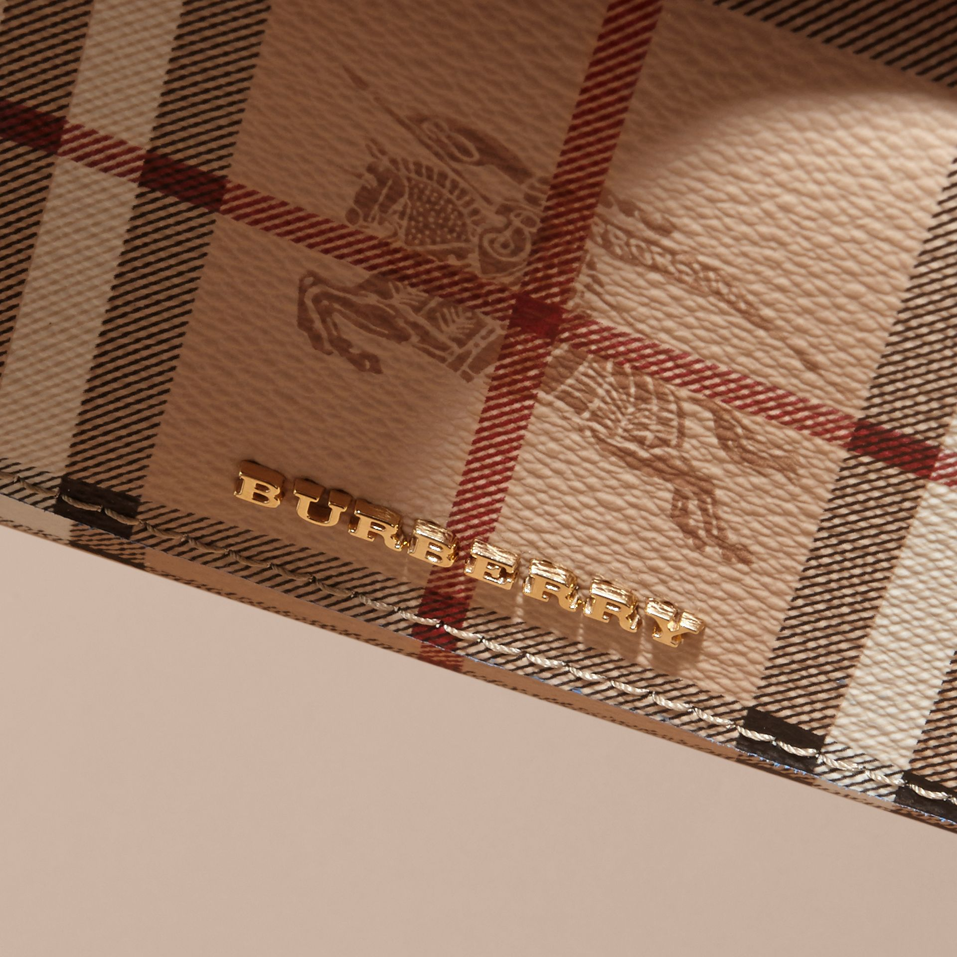 Haymarket Check and Leather Continental Wallet in Mineral Blue - Women | Burberry - gallery image 2