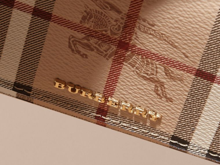 Haymarket Check and Leather Continental Wallet in Mineral Blue - Women | Burberry - cell image 1
