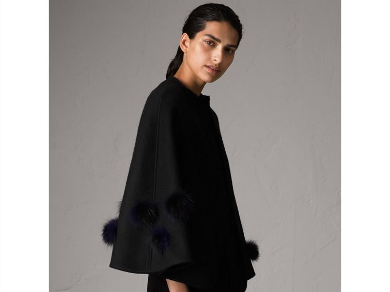 Fur Pom-pom Detail Double-faced Cashmere Wool Cape in Black - Women | Burberry United Kingdom - cell image 4