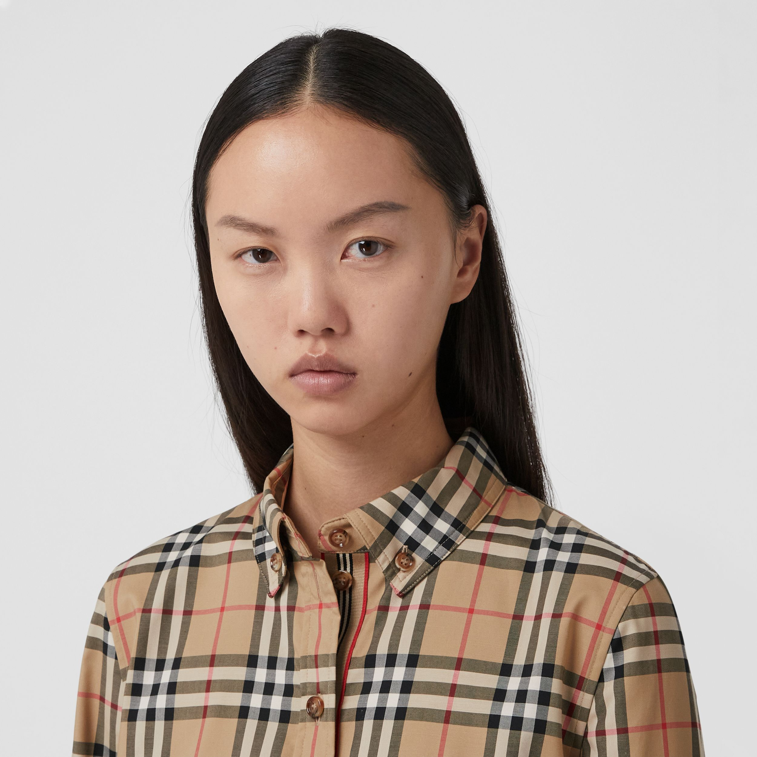 Button-down Collar Vintage Check Stretch Cotton Shirt in Archive Beige - Women | Burberry - 2