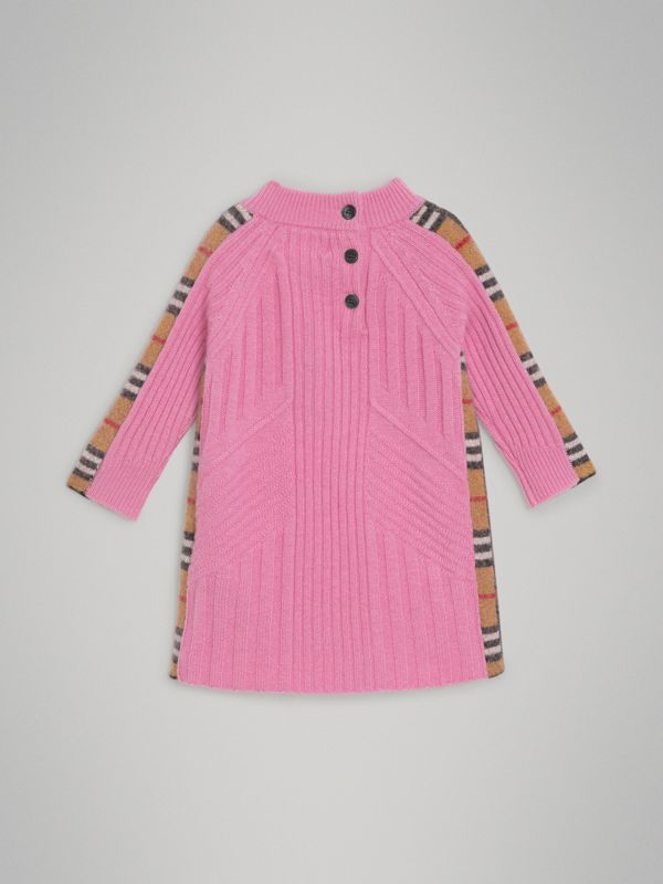 Check Detail Wool Cashmere Dress in Rose Pink - Children | Burberry - cell image 3