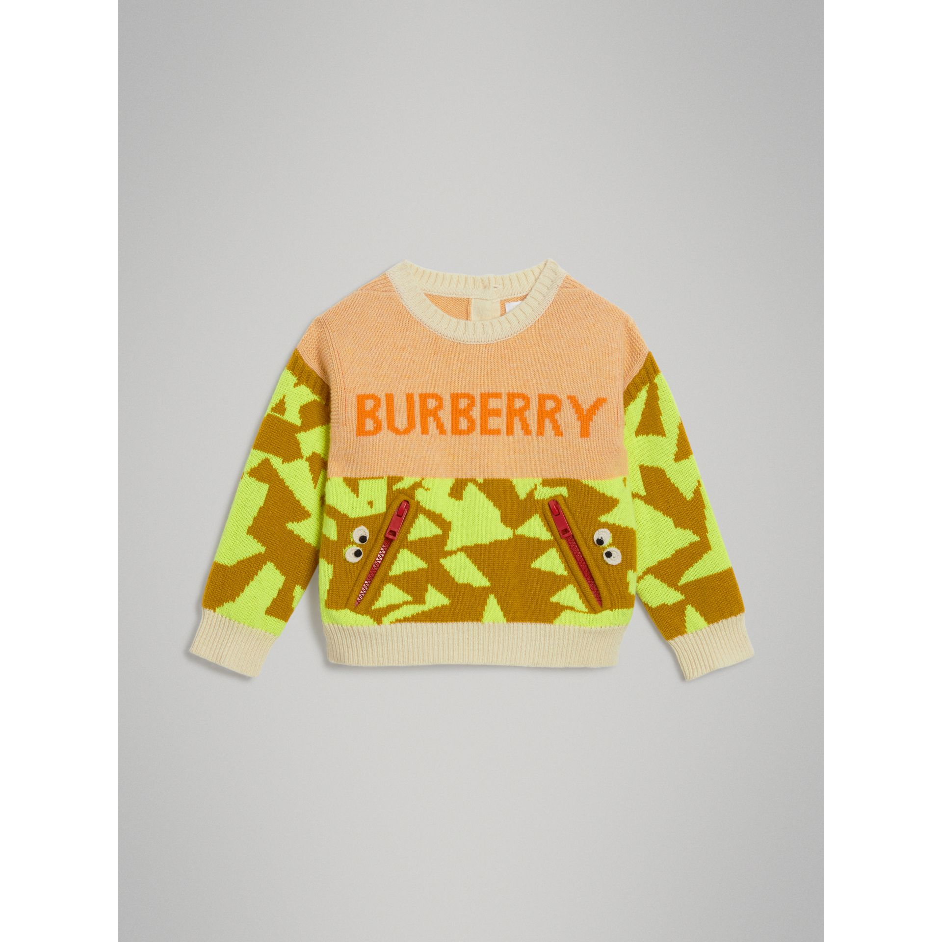 Pull en cachemire avec monstre en intarsia (Orange) | Burberry Canada - photo de la galerie 0