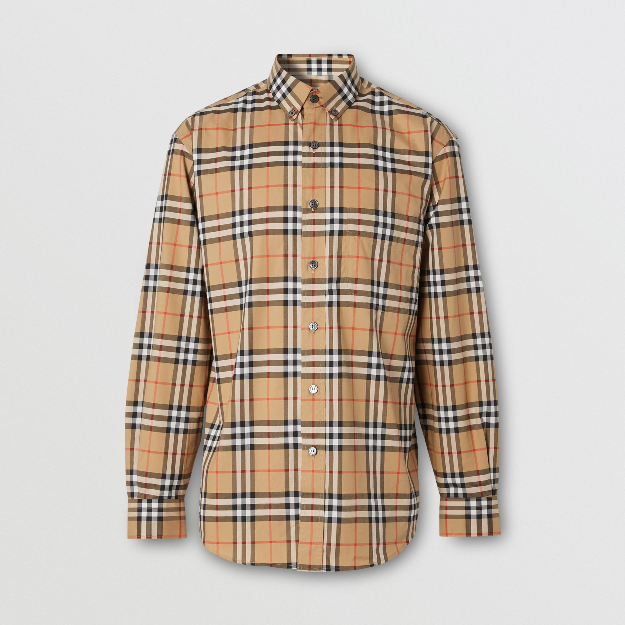 Button-down Collar Vintage Check Cotton Shirt in Antique Yellow - Men | Burberry - 4