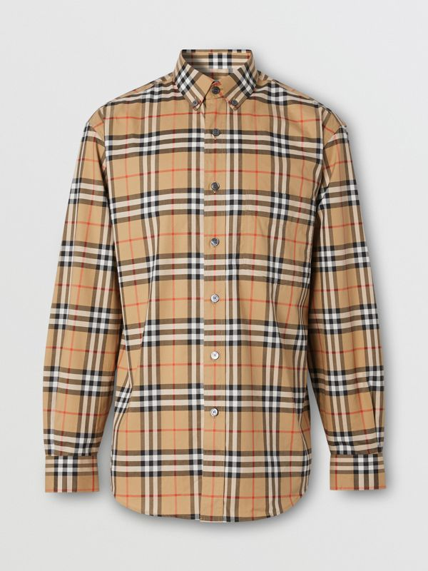Button-down Collar Vintage Check Cotton Shirt in Antique Yellow - Men | Burberry United Kingdom - cell image 3
